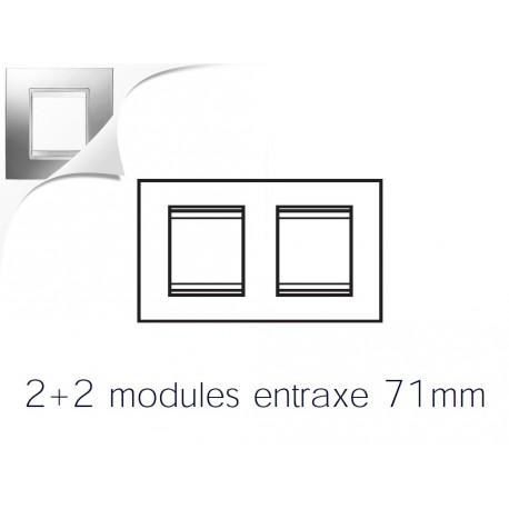 Plaque lux 4m 2+2 horizontal chrome Gewiss chorus