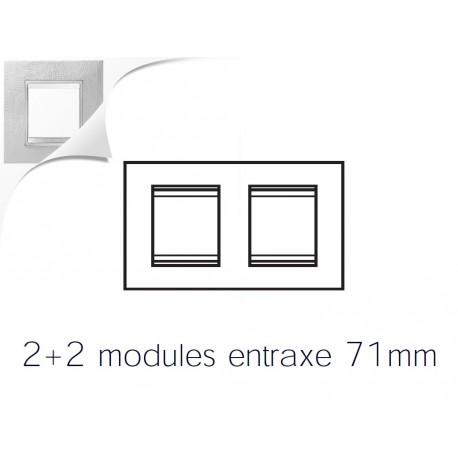 Plaque lux 4m 2+2 horizontal cuir blanc Gewiss chorus