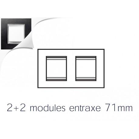 Plaque lux 4m 2+2 horizontal cuir noir Gewiss chorus