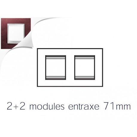 Plaque lux 4m 2+2 horizontal cuir rubis Gewiss chorus