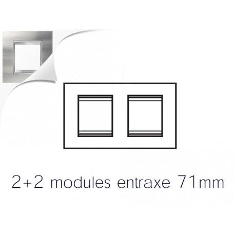 Plaque lux 4m 2+2 horizontal inox brosse Gewiss chorus