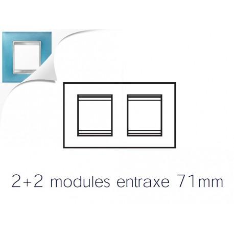 Plaque lux 4m 2+2 horizontal verre aigue marine Gewiss chorus
