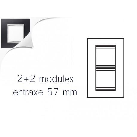 Plaque lux 4m 2+2 vertical 57 aluminium noir Gewiss chorus