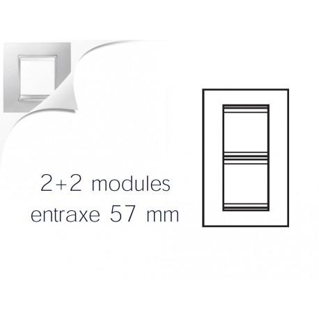 Plaque lux 4m 2+2 vertical 57 blanc creme Gewiss chorus