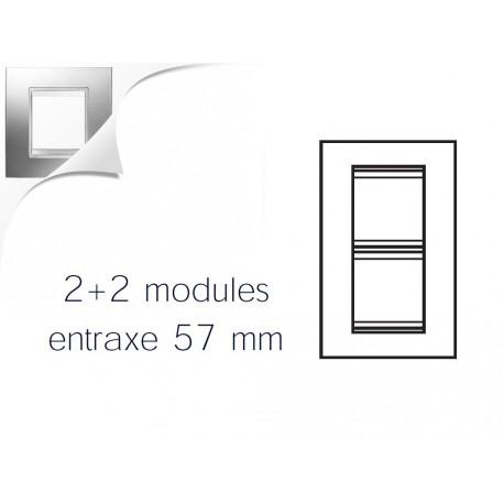 Plaque lux 4m 2+2 vertical 57 chrome Gewiss chorus