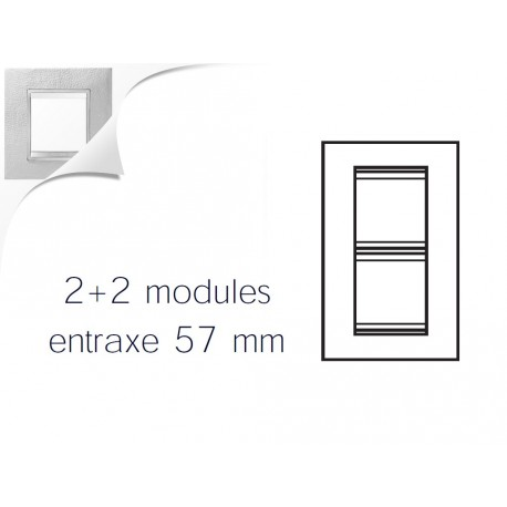 Plaque lux 4m 2+2 vertical 57 cuir blanc Gewiss chorus