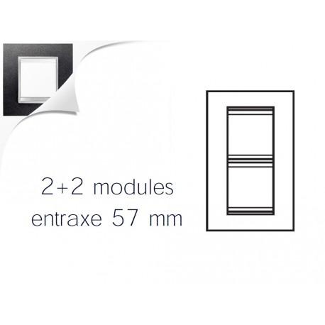 Plaque lux 4m 2+2 vertical 57 cuir noir Gewiss chorus