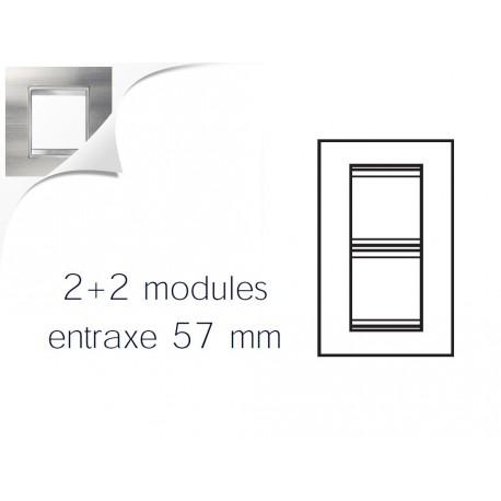 Plaque lux 4m 2+2 vertical 57 inox brosse Gewiss chorus