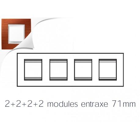 Plaque lux 8m 2+2+2+2 horizontal cerisier Gewiss chorus