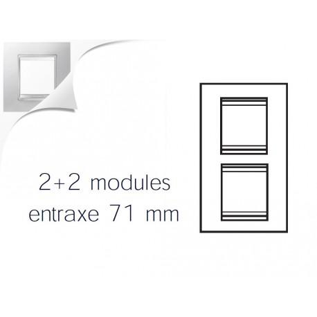 Plaque lux 4m 2+2 vertical 71 blanc creme Gewiss chorus