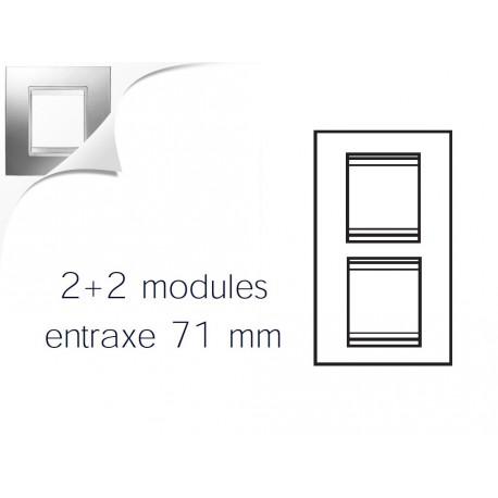 Plaque lux 4m 2+2 vertical 71 chrome Gewiss chorus