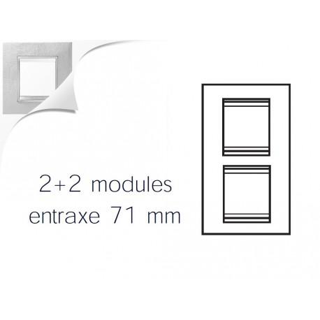 Plaque lux 4m 2+2 vertical 71 cuir blanc Gewiss chorus