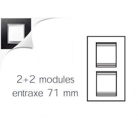 Plaque lux 4m 2+2 vertical 71 cuir noir Gewiss chorus