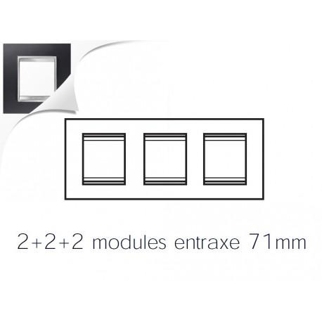 Plaque lux 6m 2+2+2 horizontal aluminum noir Gewiss chorus
