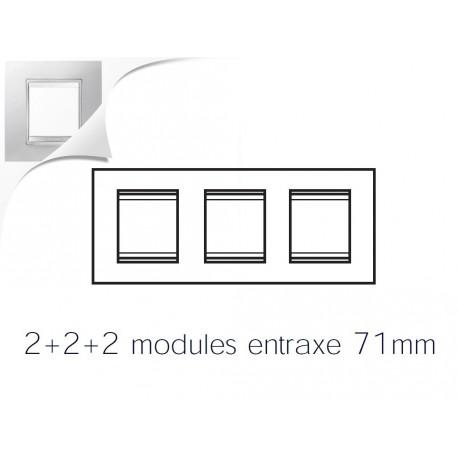 Plaque lux 6m 2+2+2 horizontal blanc creme Gewiss chorus