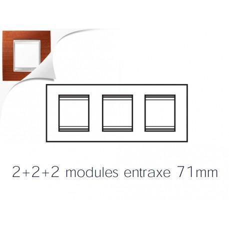 Plaque lux 6m 2+2+2 horizontal cerisier Gewiss chorus