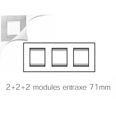 Plaque lux 6m 2+2+2 horizontal cuir blanc Gewiss chorus