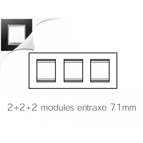 Plaque lux 6m 2+2+2 horizontal cuir noir Gewiss chorus