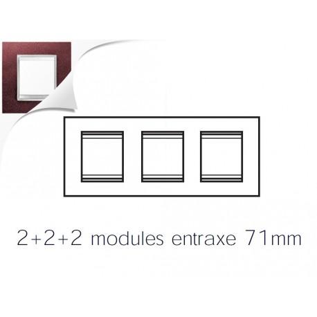 Plaque lux 6m 2+2+2 horizontal cuir rubis Gewiss chorus