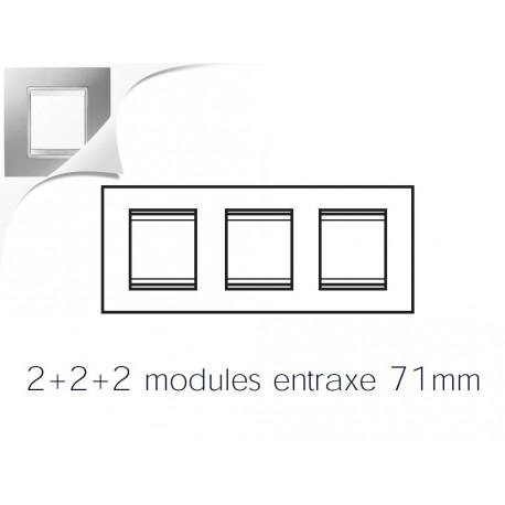 Plaque lux 6m 2+2+2 horizontal titane Gewiss chorus