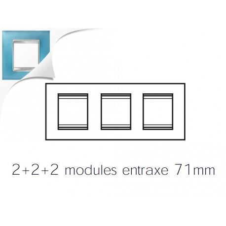 Plaque lux 6m 2+2+2 horizontal verre aigue marine Gewiss chorus