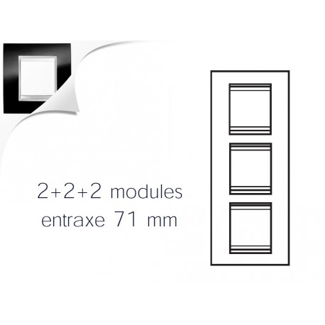 Plaque lux 6m 2+2+2 vertical ardoise Gewiss chorus