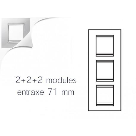 Plaque lux 6m 2+2+2 vertical blanc creme Gewiss chorus