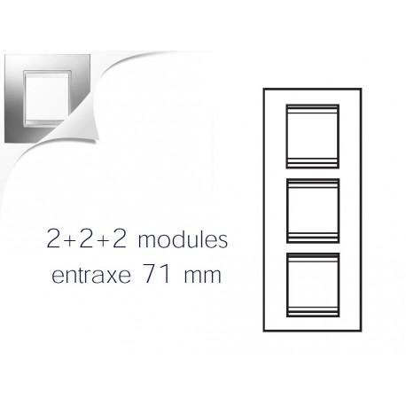 Plaque lux 6m 2+2+2 vertical chrome Gewiss chorus