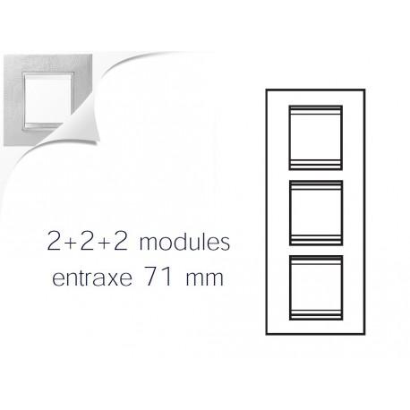 Plaque lux 6m 2+2+2 vertical cuir blanc Gewiss chorus