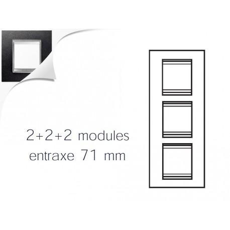 Plaque lux 6m 2+2+2 vertical cuir noir Gewiss chorus