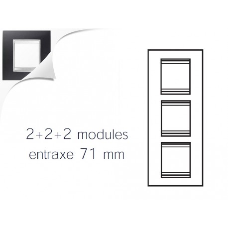 Plaque lux 6m 2+2+2 vertical noir toner Gewiss chorus