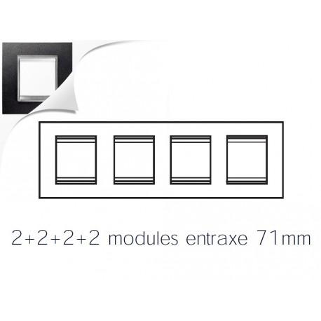 Plaque lux 8m 2+2+2+2 horizontal cuir noir Gewiss chorus