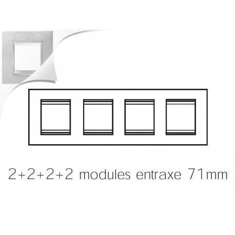 Plaque lux 8m 2+2+2+2 horizontal cuir blanc Gewiss chorus