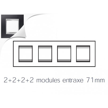 Plaque lux 8m 2+2+2+2 horizontal aluminium noir Gewiss chorus