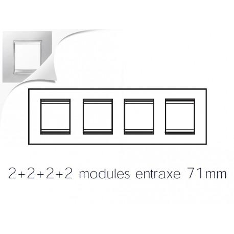 Plaque lux 8m 2+2+2+2 horizontal blanc creme Gewiss chorus