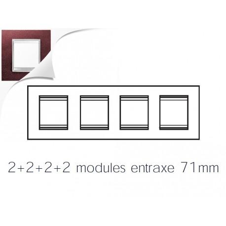 Plaque lux 8m 2+2+2+2 horizontal cuir rubis Gewiss chorus