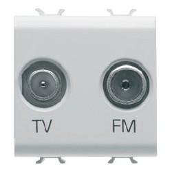Prise tv et fm 2m blanc Gewiss chorus
