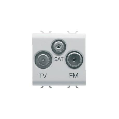 Prise tv et fm et sat 2m blanc Gewiss chorus