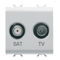 Prise tv et sat 2m blanc Gewiss chorus
