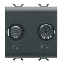 Prise tv et fm 2m noire Gewiss chorus
