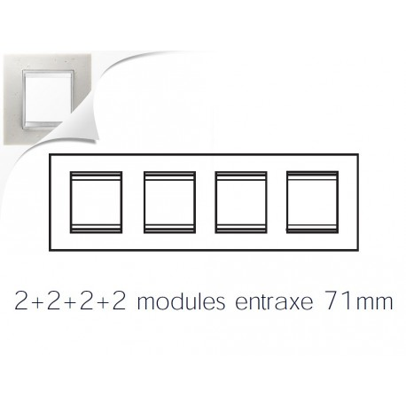 Plaque lux 8m 2+2+2+2 horizontal pierre lune Gewiss chorus