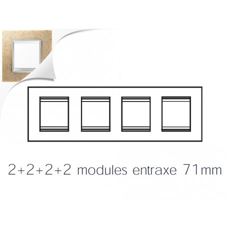 Plaque lux 8m 2+2+2+2 horizontal pierre sable Gewiss chorus