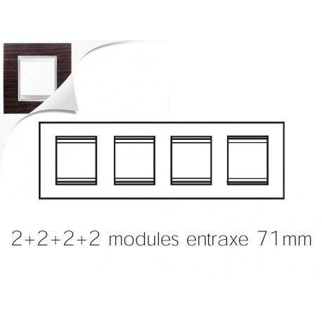 Plaque lux 8m 2+2+2+2 horizontal wengue Gewiss chorus