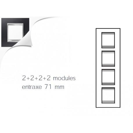 Plaque lux 8m 2+2+2+2 vertical aluminium noir Gewiss chorus