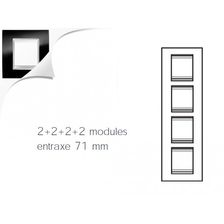 Plaque lux 8m 2+2+2+2 vertical ardoise Gewiss chorus