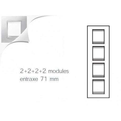 Plaque lux 8m 2+2+2+2 vertical blanc creme Gewiss chorus