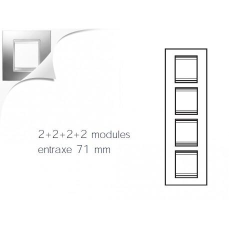 Plaque lux 8m 2+2+2+2 vertical chrome Gewiss chorus