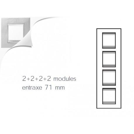 Plaque lux 8m 2+2+2+2 vertical cuir blanc Gewiss chorus