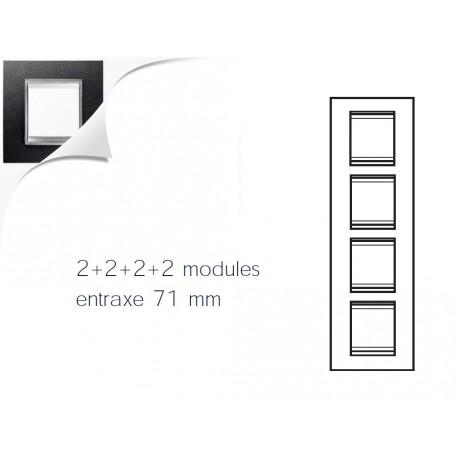 Plaque lux 8m 2+2+2+2 vertical cuir noir Gewiss chorus