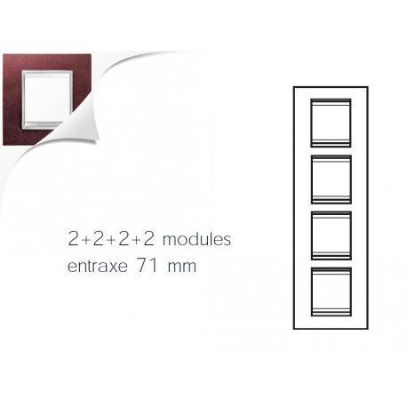Plaque lux 8m 2+2+2+2 vertical cuir rubis Gewiss chorus